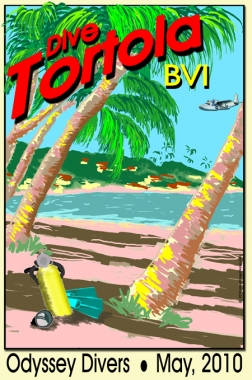 Vintage Travel Poster Line: Carribean Hills