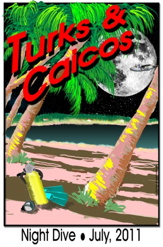 Night Dive Vintage Travel Poster Caribbean Beach