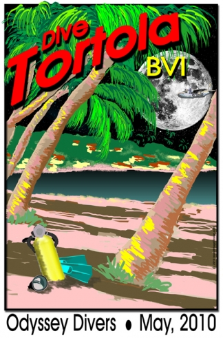 Vintage Travel Poster Night Dive Caribbean Beach (Hilly Island)